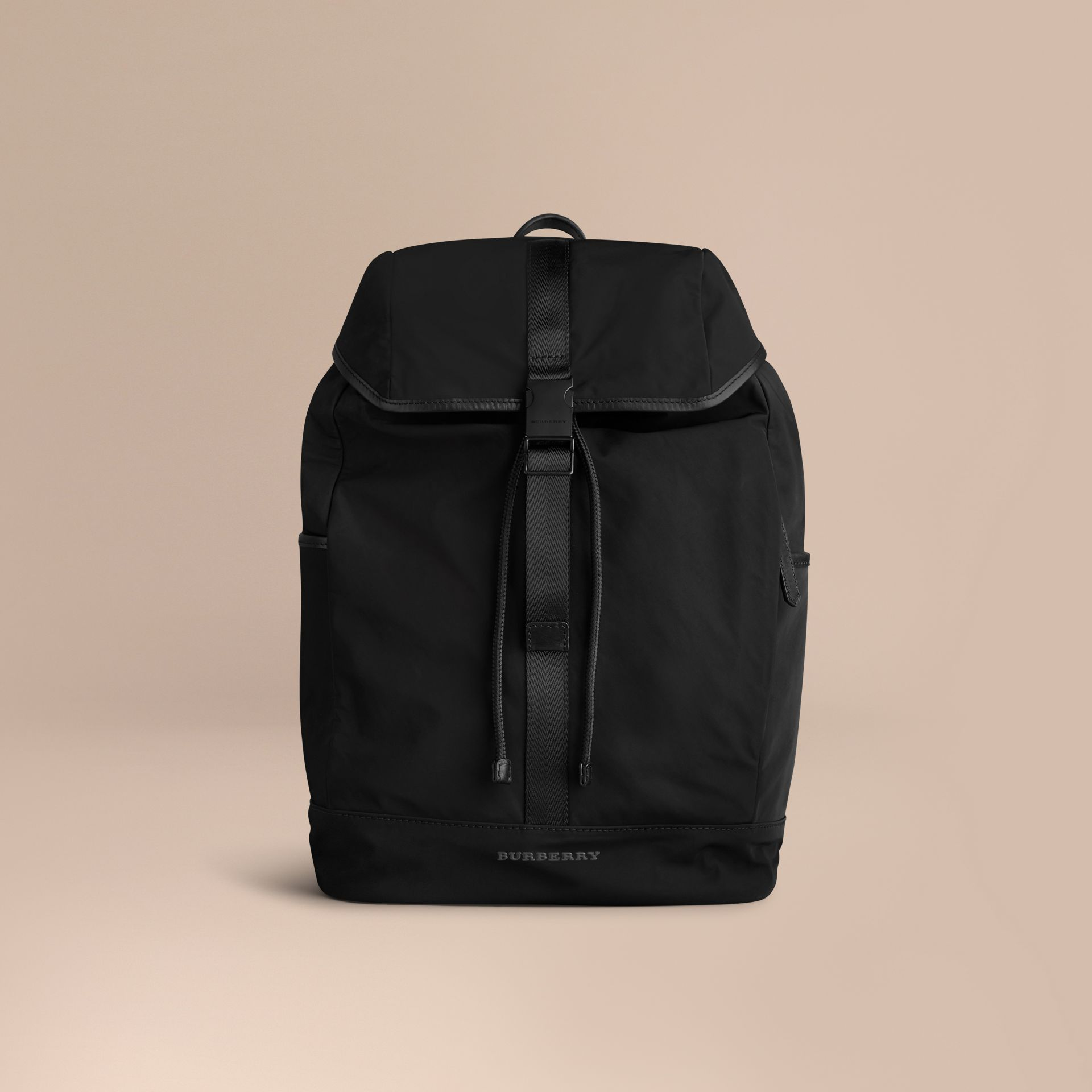 Leather Trim Lightweight Backpack in Black - Men | Burberry - gallery image 1