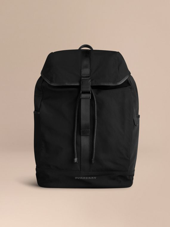 Leather Trim Lightweight Backpack in Black