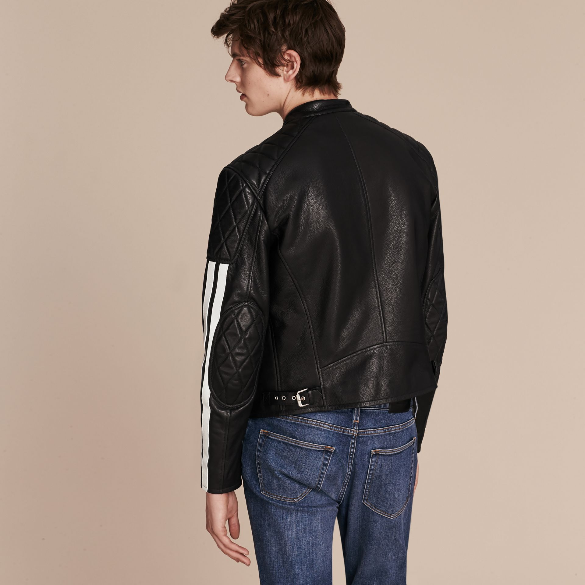 Black Stripe Detail Leather Jacket - gallery image 3