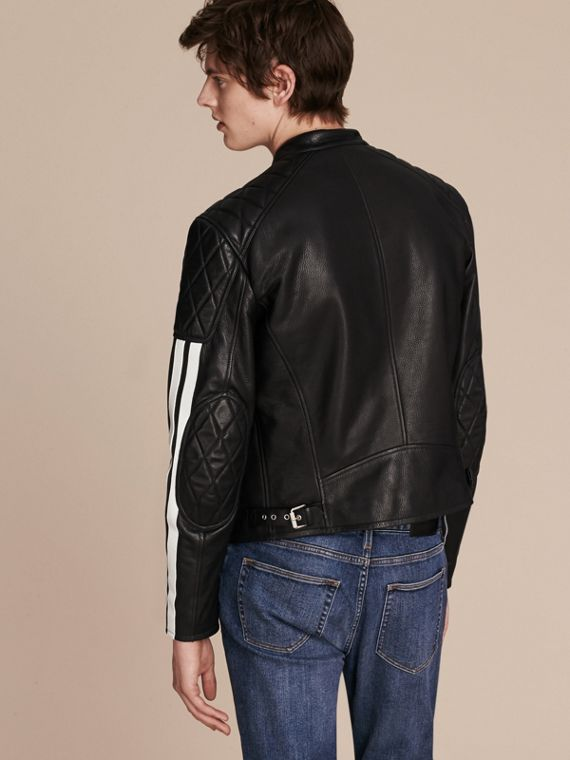 Black Stripe Detail Leather Jacket - cell image 2