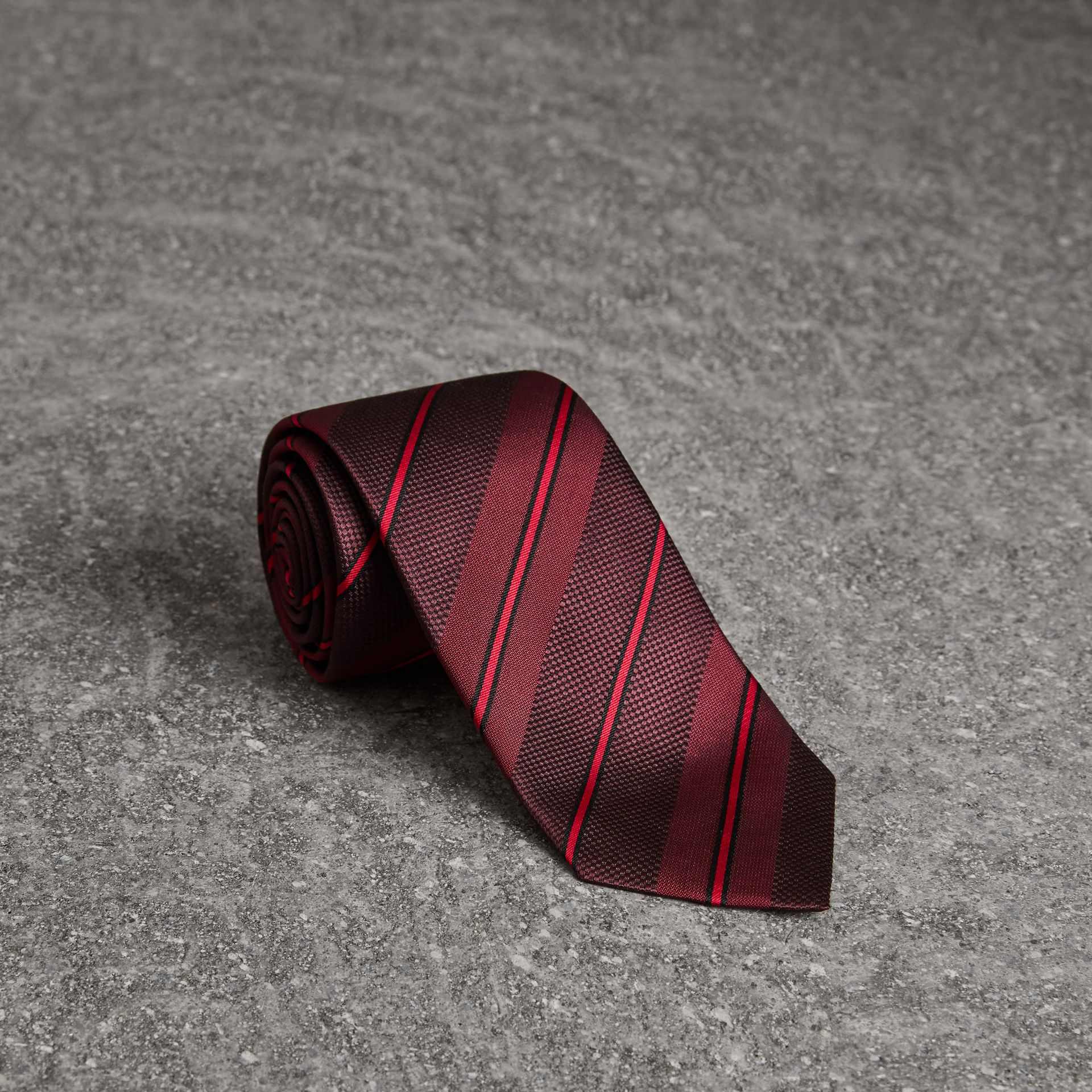 Modern Cut Striped Silk Tie in Deep Claret - Men | Burberry United States - gallery image 0