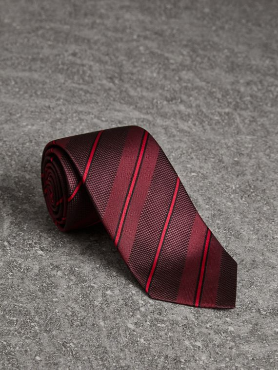 Modern Cut Striped Silk Tie in Deep Claret
