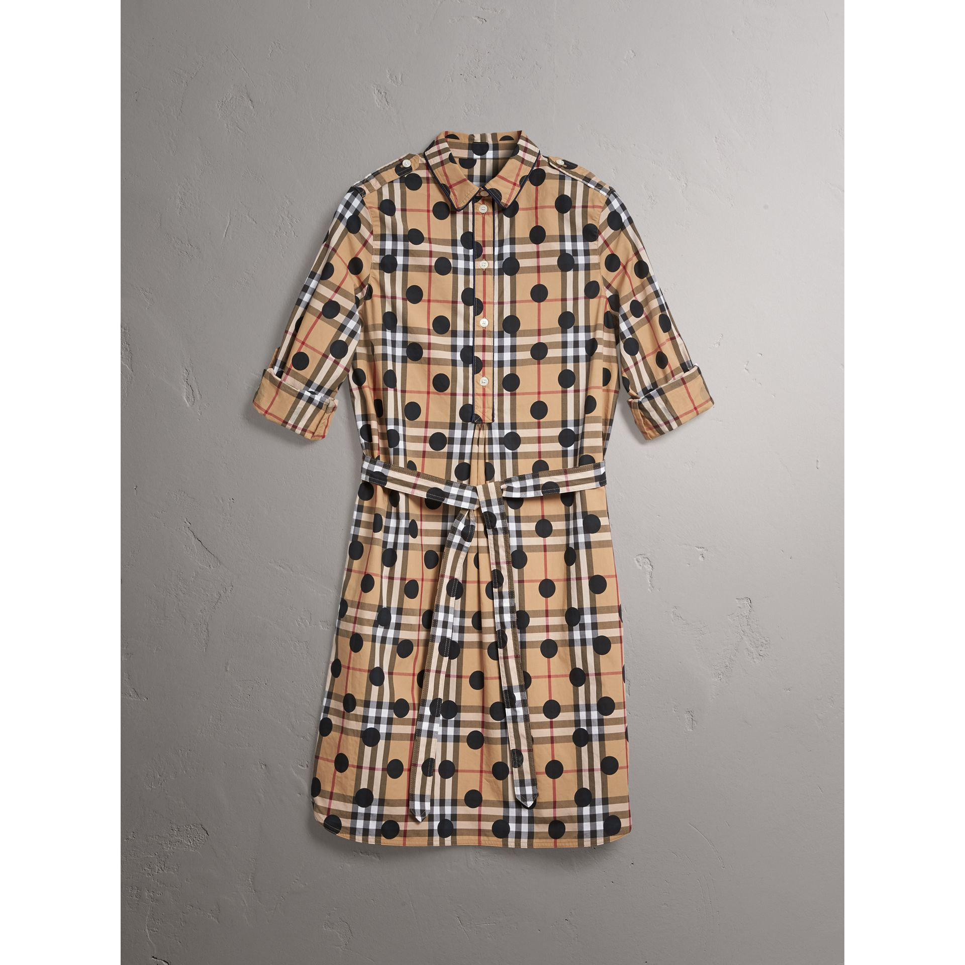 Polka-dot Print Check Cotton Tunic Dress in Navy - Women | Burberry - gallery image 4