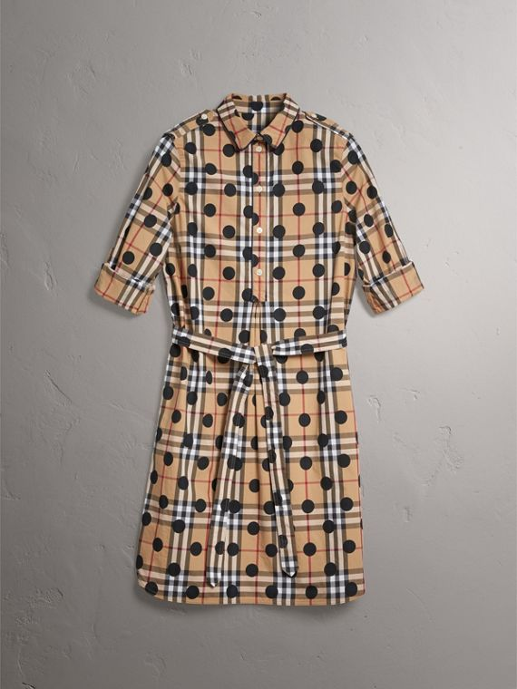 Polka-dot Print Check Cotton Tunic Dress in Navy - Women | Burberry Hong Kong - cell image 3