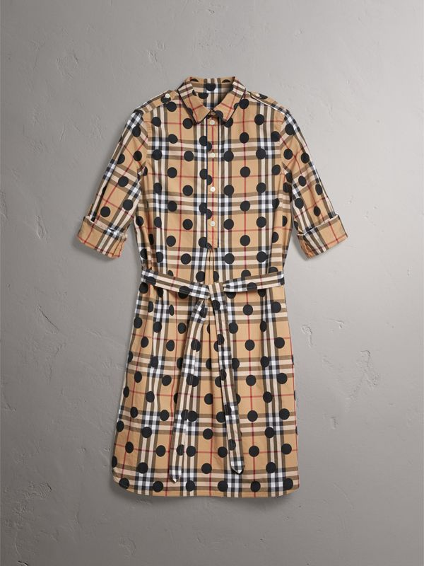 Polka-dot Print Check Cotton Tunic Dress in Navy - Women | Burberry - cell image 3