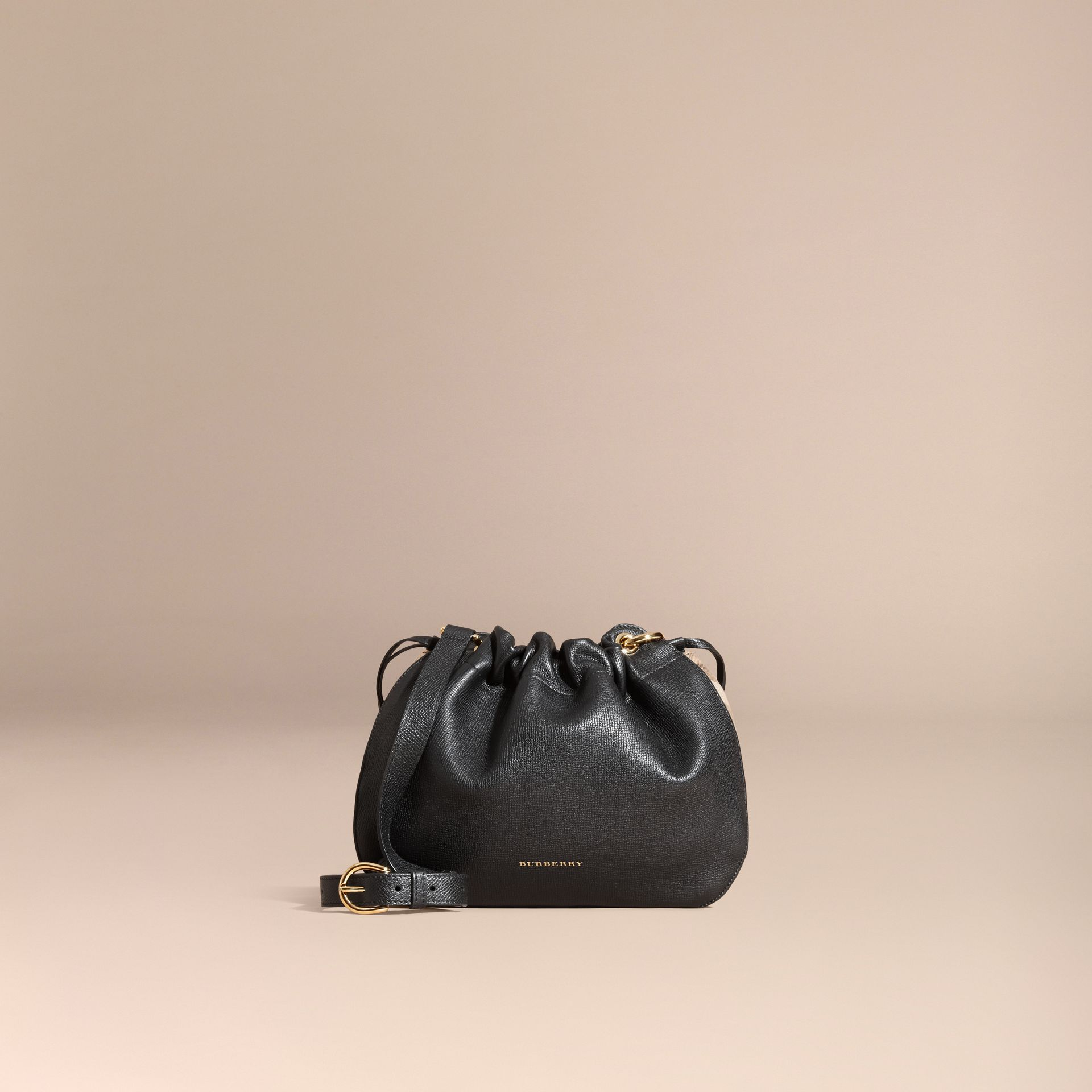 Black Grainy Leather and House Check Crossbody Bag Black - gallery image 8