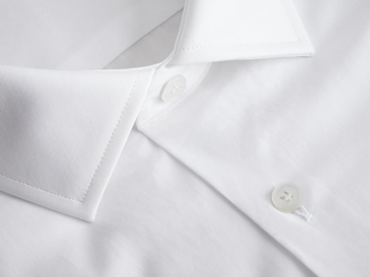 Modern Fit Cotton Poplin Shirt in White - cell image 1