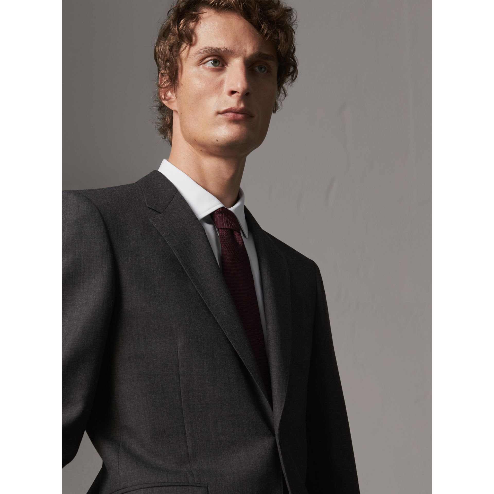 Modern Fit Wool Part-canvas Suit in Charcoal - Men | Burberry United Kingdom - gallery image 5
