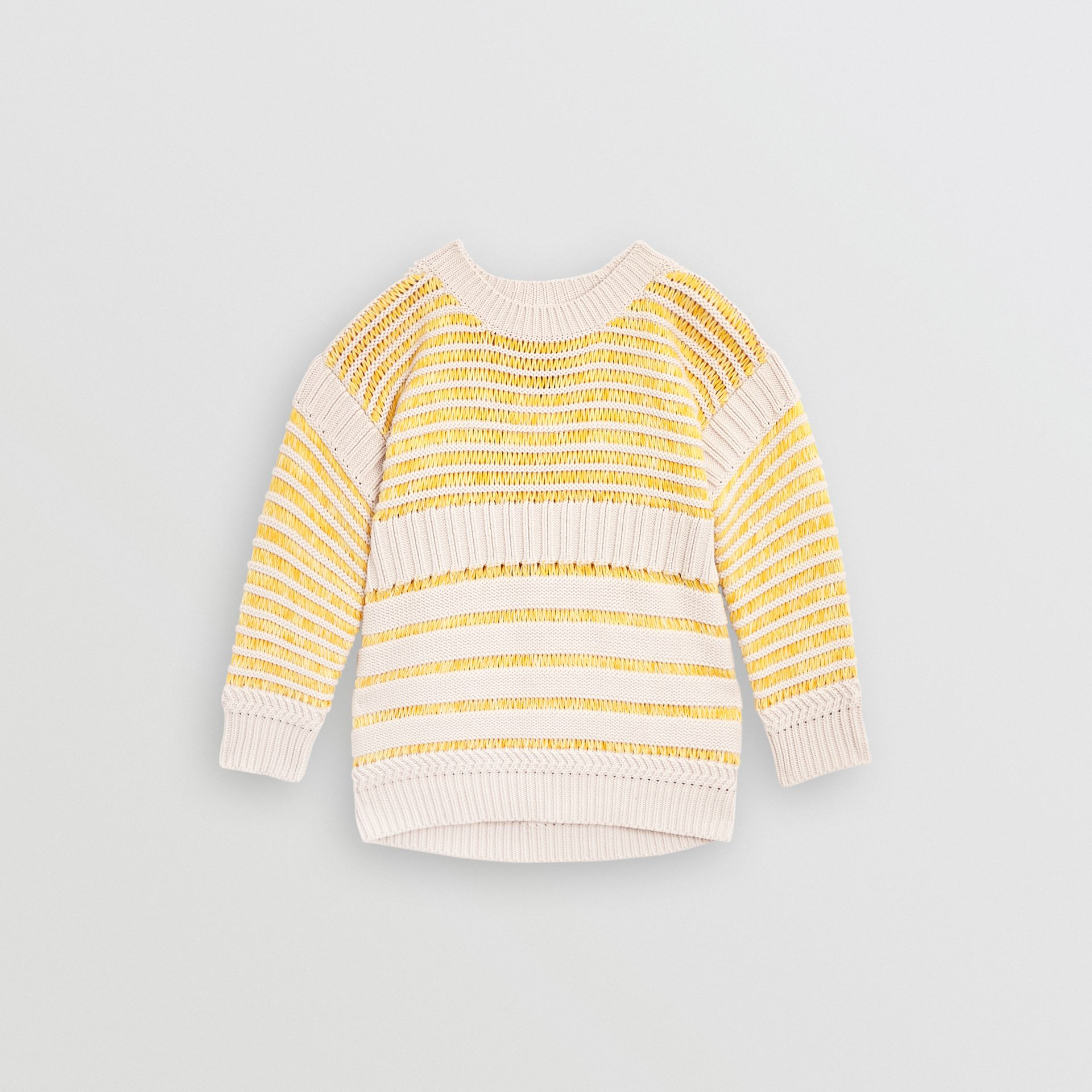 Rib Knit Cotton Sweater in Bright Yellow | Burberry - gallery image 0