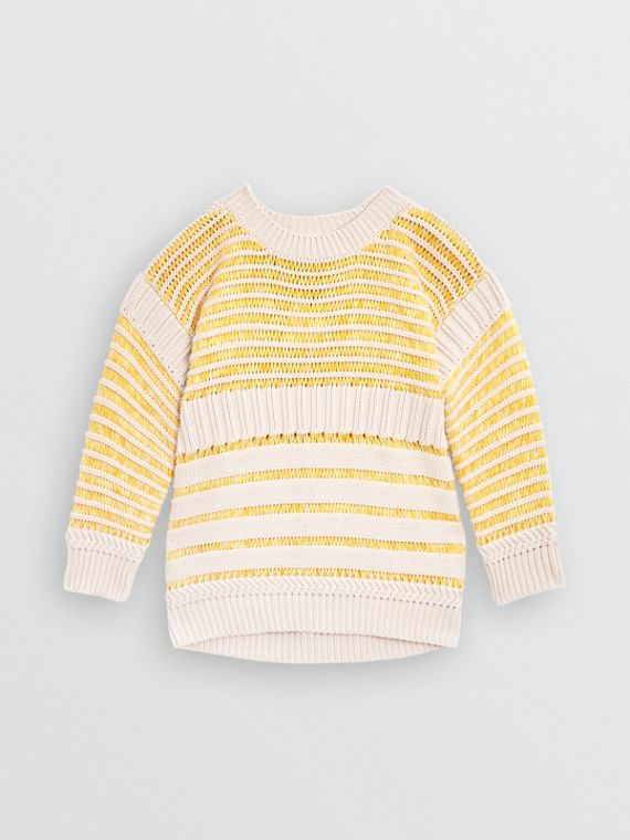 Rib Knit Cotton Sweater in Bright Yellow