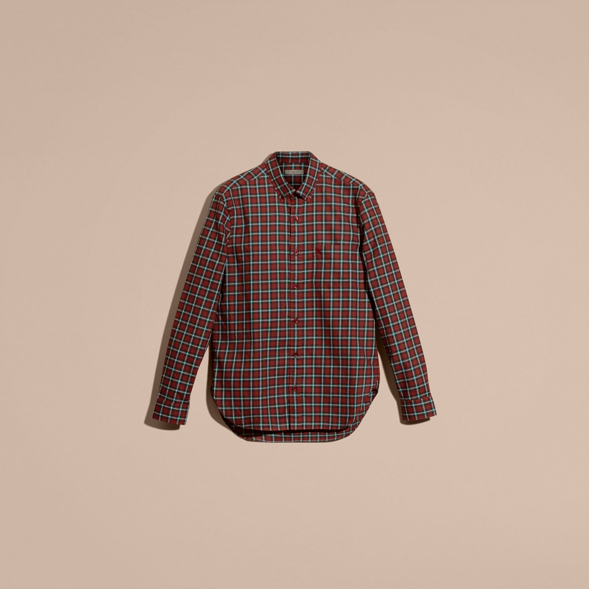 Parade red Tartan Cotton Twill Shirt Parade Red - gallery image 4