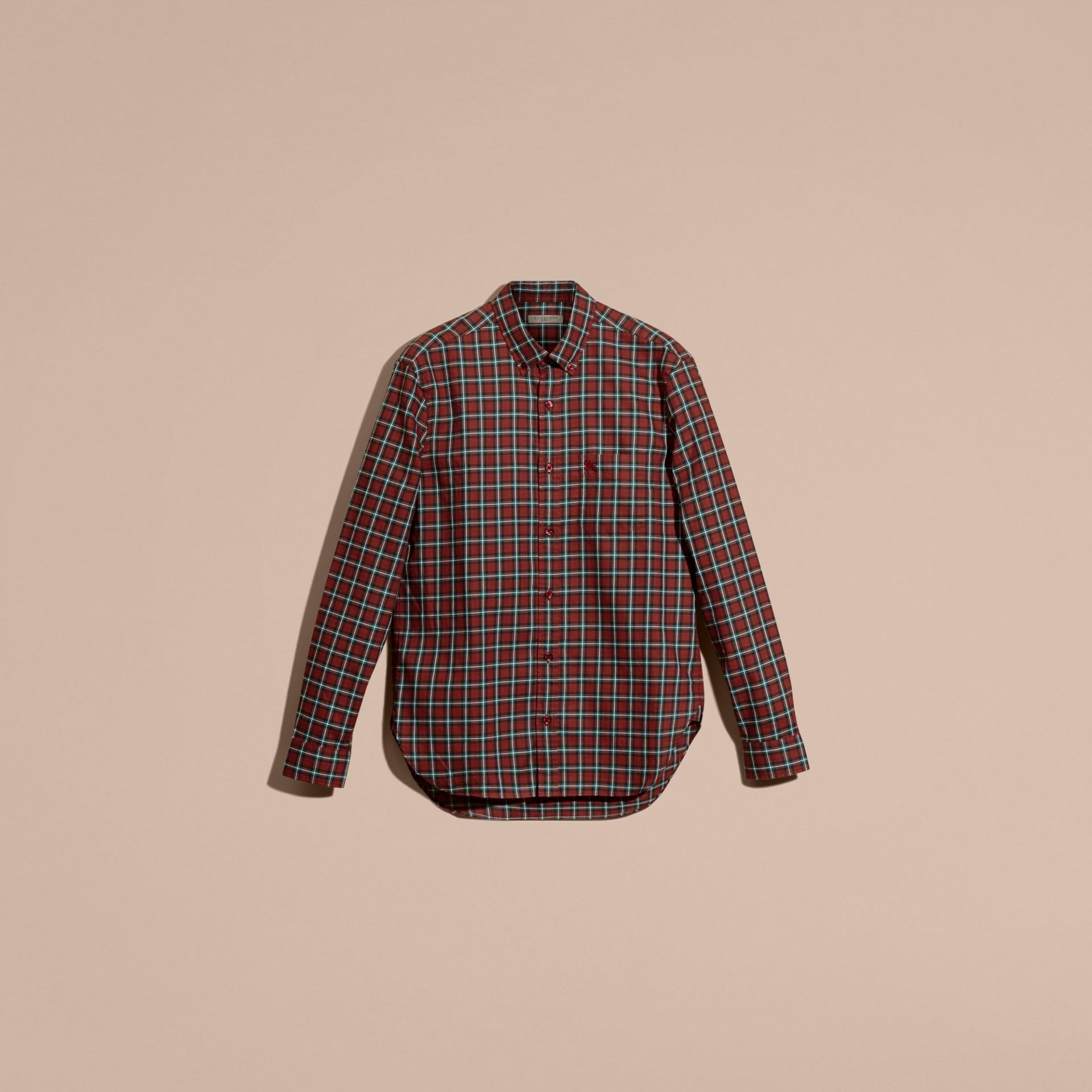 Vermelho Camisa de sarja de algodão com estampa xadrez tartã Vermelho - galeria de imagens 4