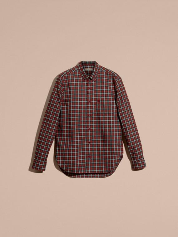 Vermelho Camisa de sarja de algodão com estampa xadrez tartã Vermelho - cell image 3