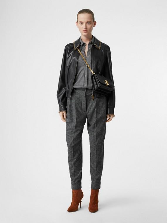 Pantalon tailleur en tweed de laine et cachemire avec ceinture (Camaïeu Noir)