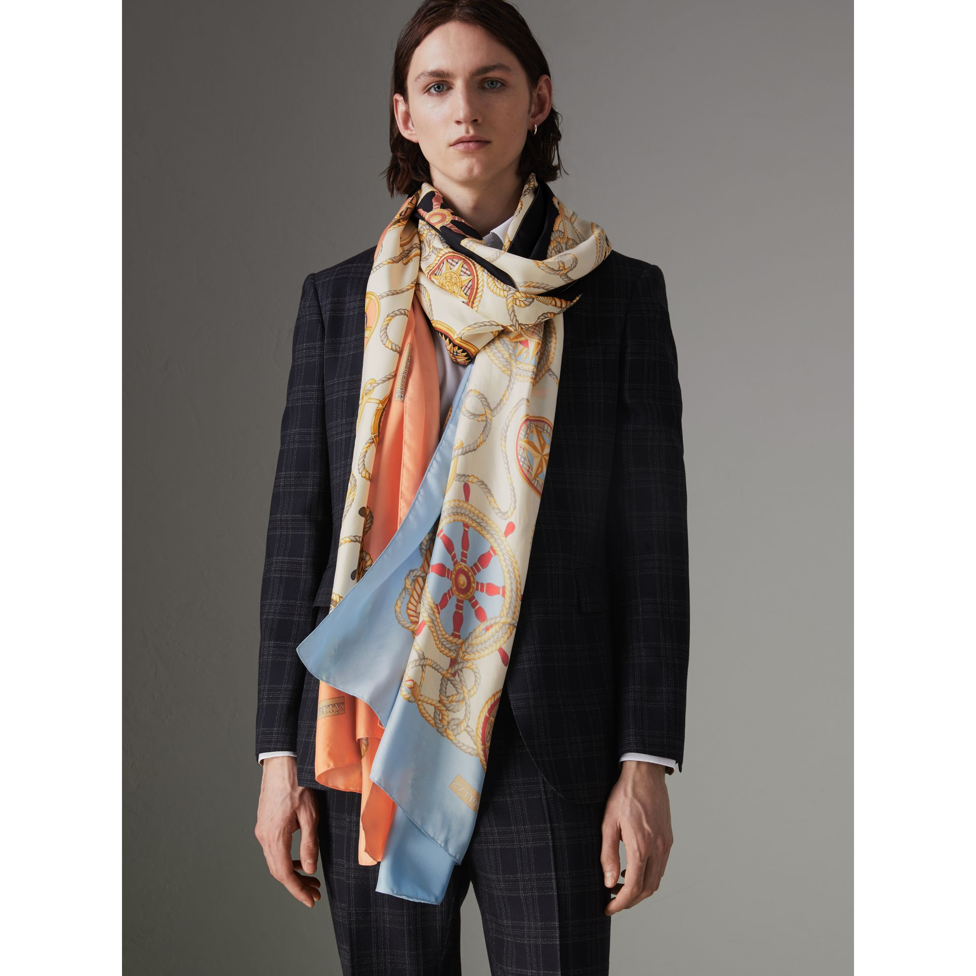Archive Scarf Print Silk Oversized Scarf in Multicolour | Burberry - gallery image 5