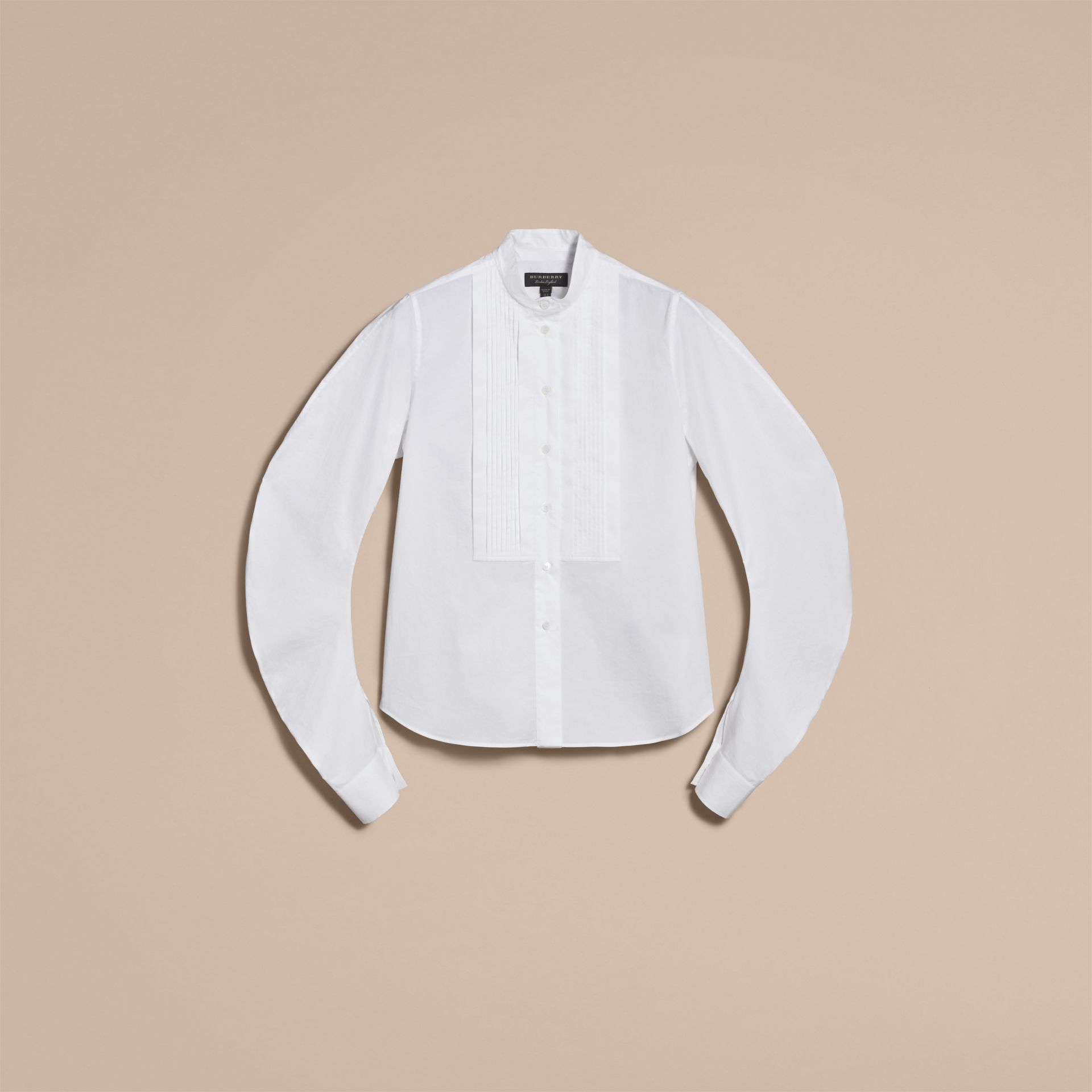Pintuck Bib Stretch Cotton Shirt in White - gallery image 4