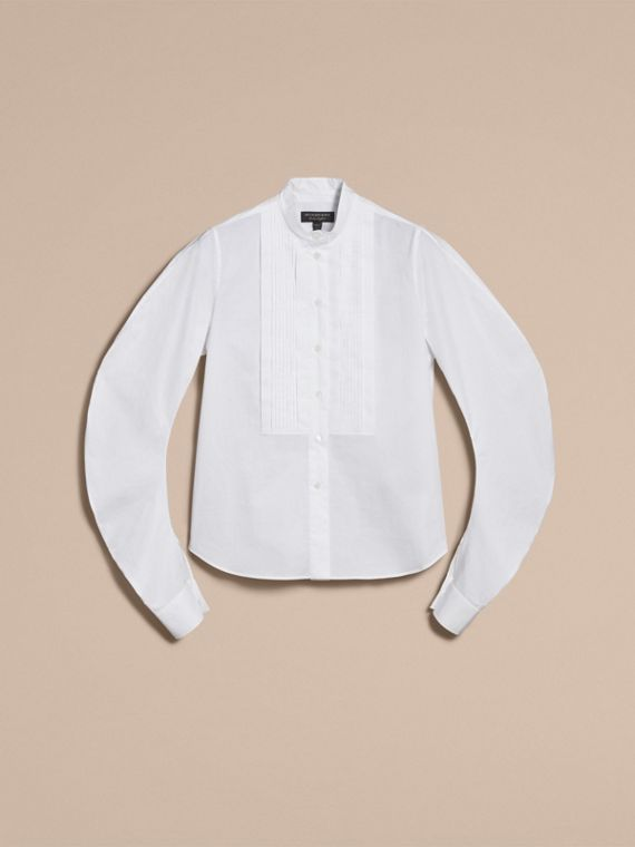 Pintuck Bib Stretch Cotton Shirt in White - cell image 3