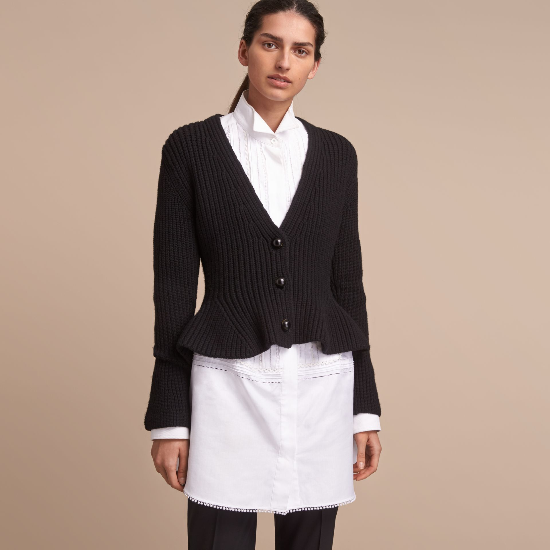 Knitted Wool Cashmere Blend Peplum Jacket - gallery image 6
