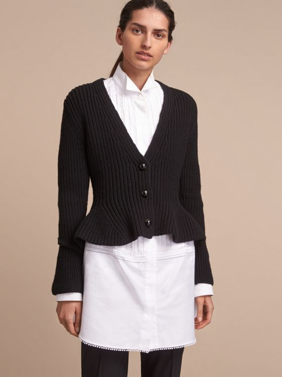 Knitted Wool Cashmere Blend Peplum Jacket