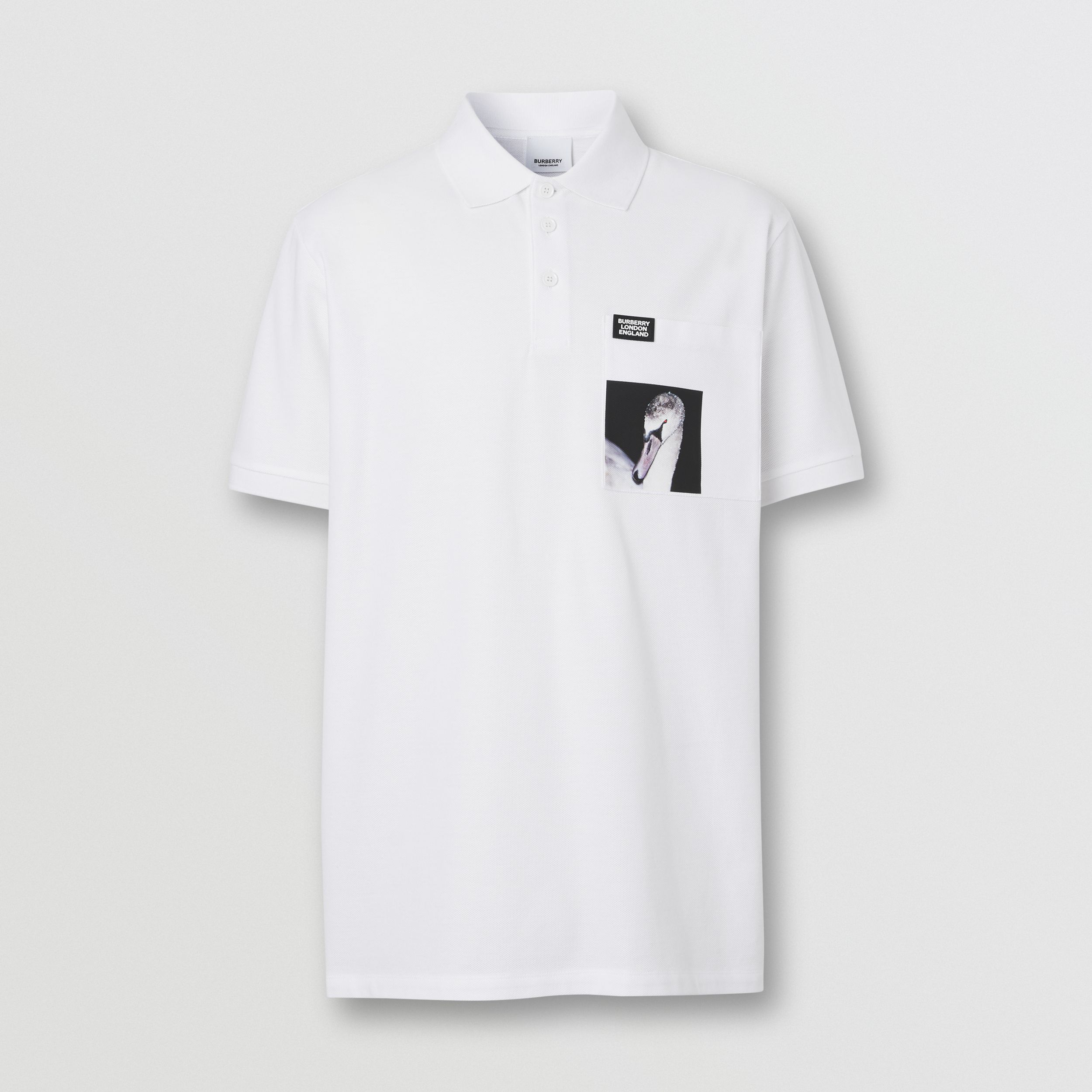 Swan Print Cotton Polo Shirt in White - Men | Burberry - 4