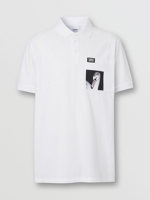 Swan Print Cotton Polo Shirt in White