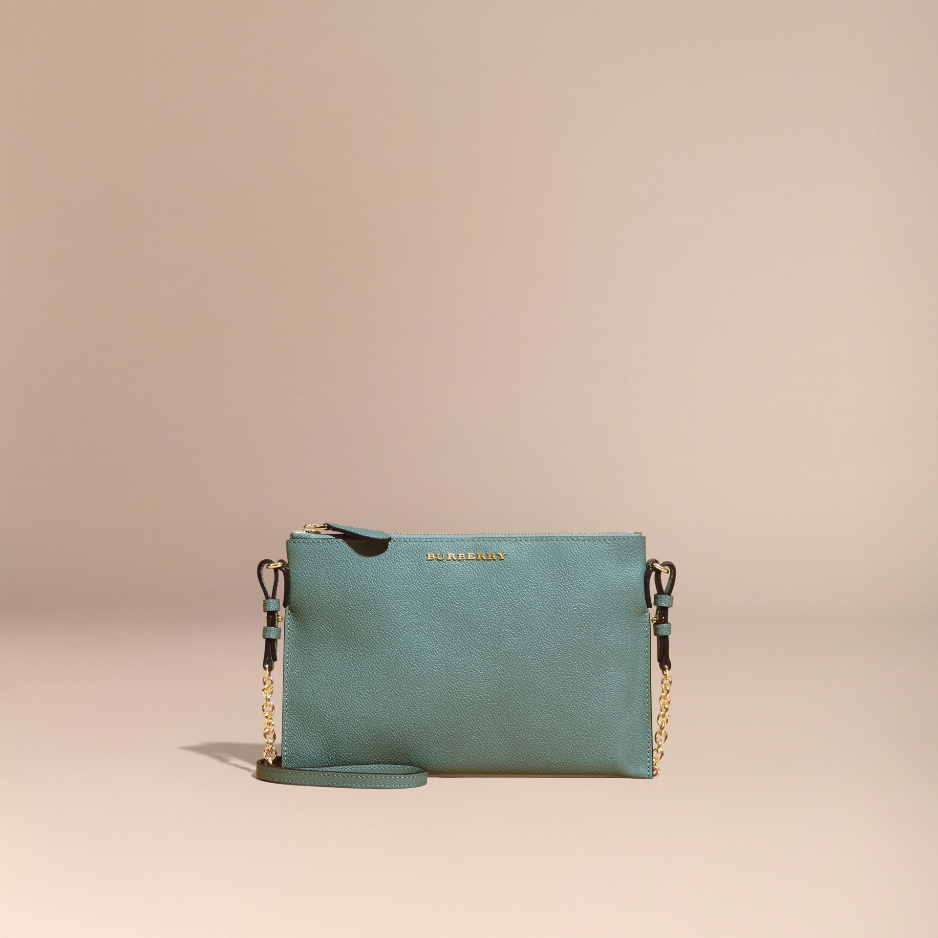 Eucalyptus green Leather Clutch Bag with Check Lining Eucalyptus Green - gallery image 9