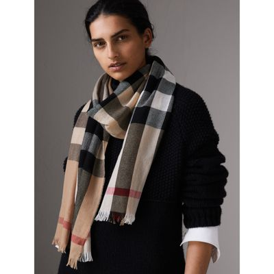 Sast Cheap Online Burberry Lightweight Check Wool Cashmere Scarf Clearance Deals Buy Cheap Best Prices 123SbD