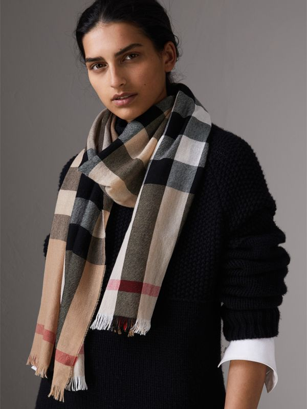 Lightweight Check Wool Cashmere Scarf in Camel | Burberry - cell image 2