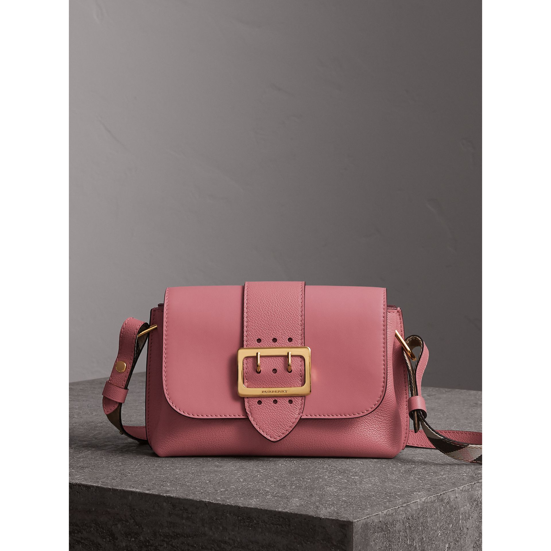 The Buckle Crossbody Bag in Leather in Dusty Pink - Women | Burberry Singapore - gallery image 1