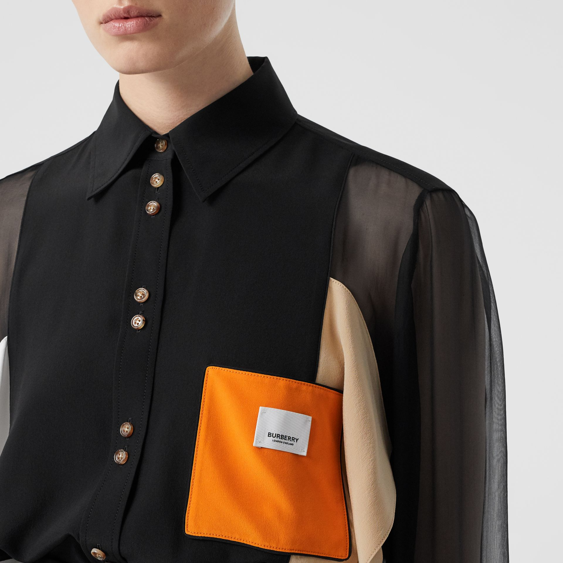 Colour Block Silk Shirt in Black - Women | Burberry - gallery image 1
