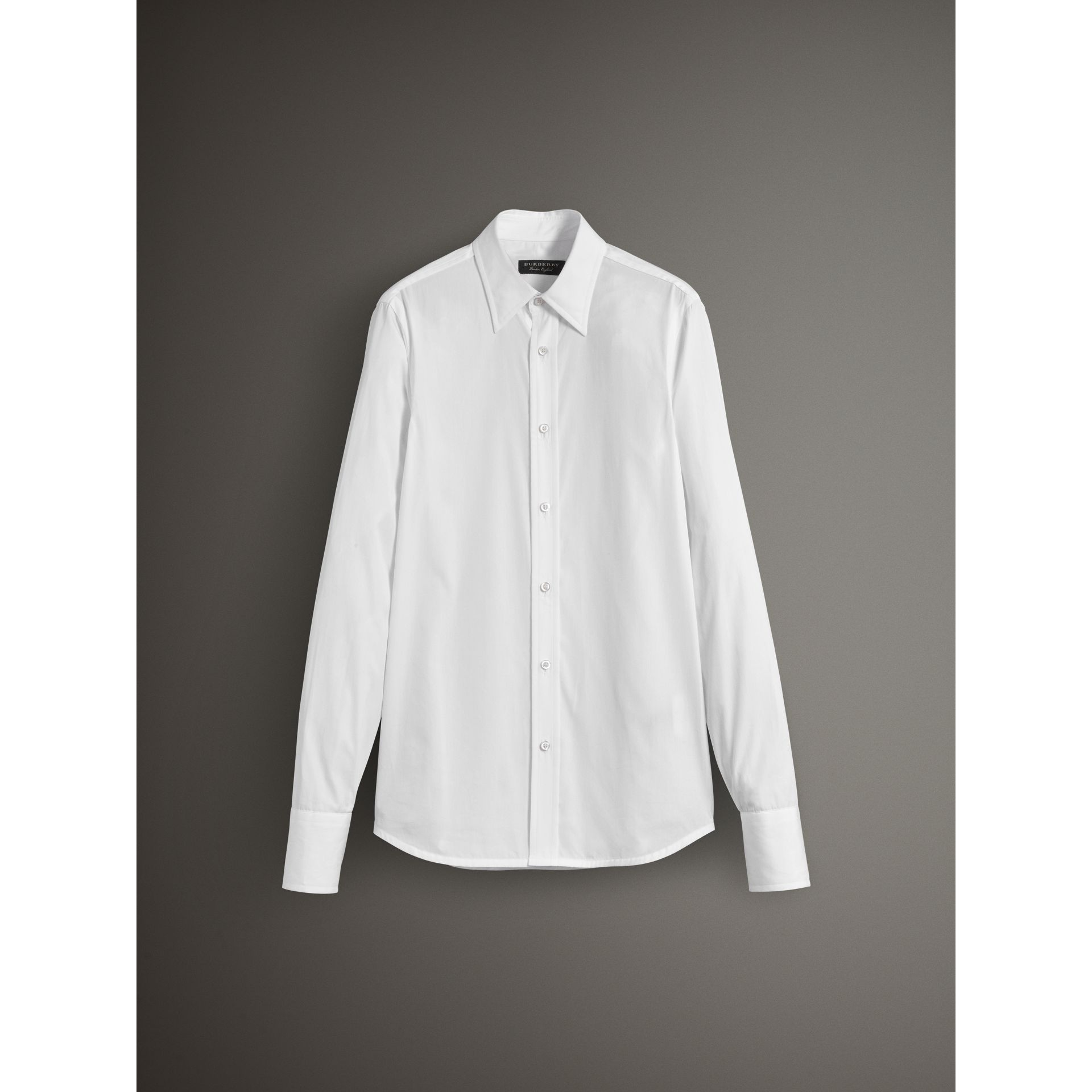 Worsted Cotton Poplin Evening Shirt in White - Men | Burberry - gallery image 3