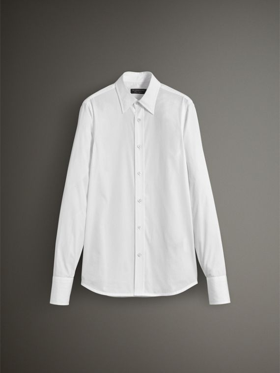 Worsted Cotton Poplin Evening Shirt in White - Men | Burberry United States - cell image 3