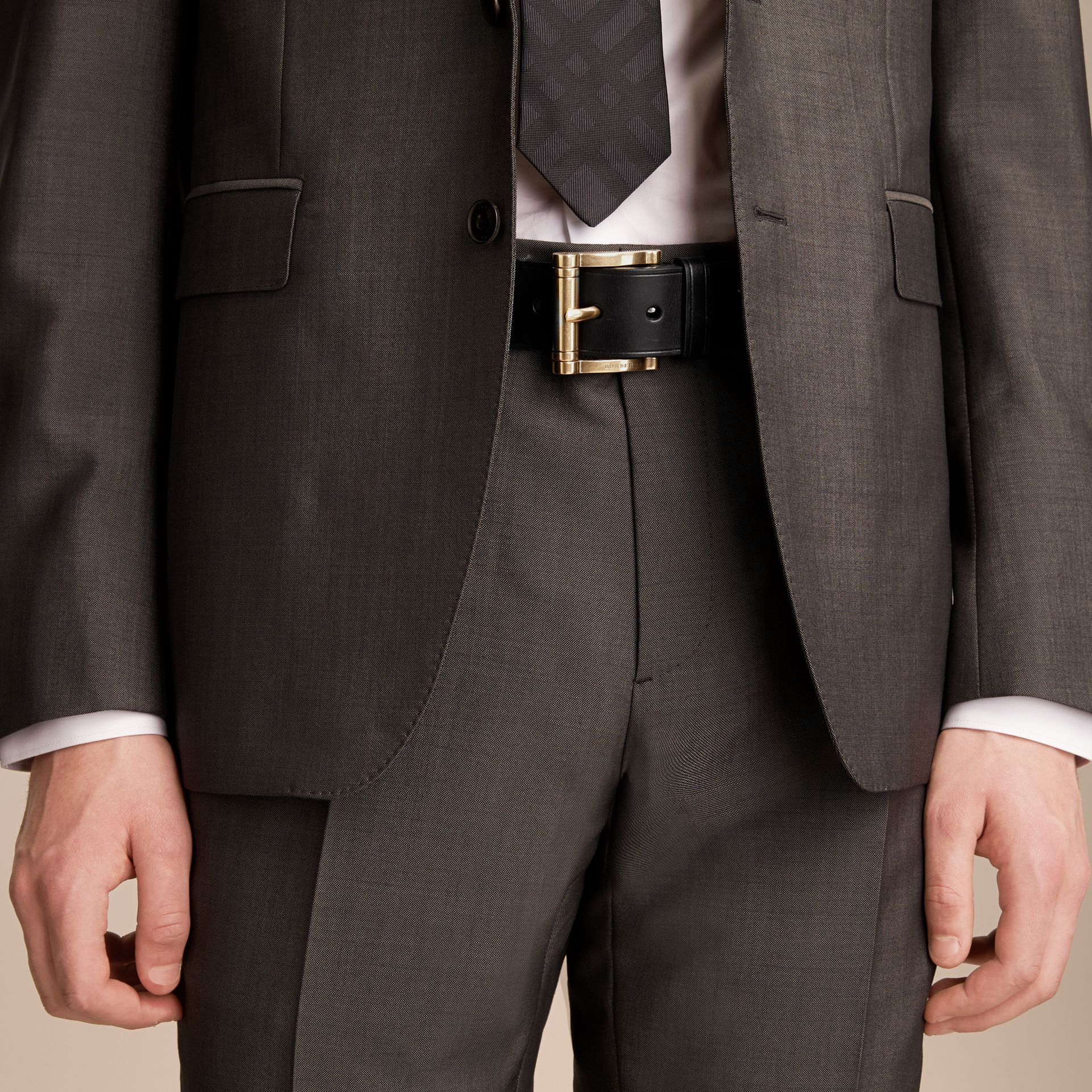 Brass Buckle Leather Belt in Black - Men | Burberry - gallery image 3