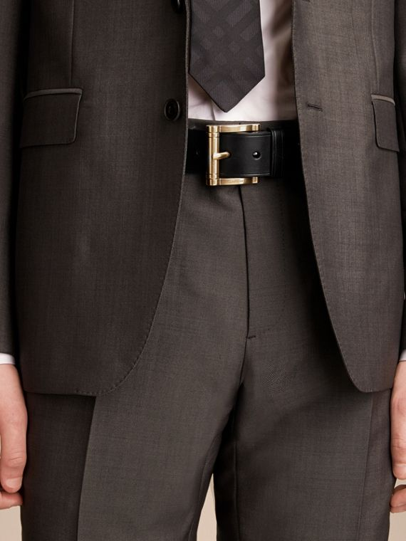 Brass Buckle Leather Belt in Black - Men | Burberry - cell image 2