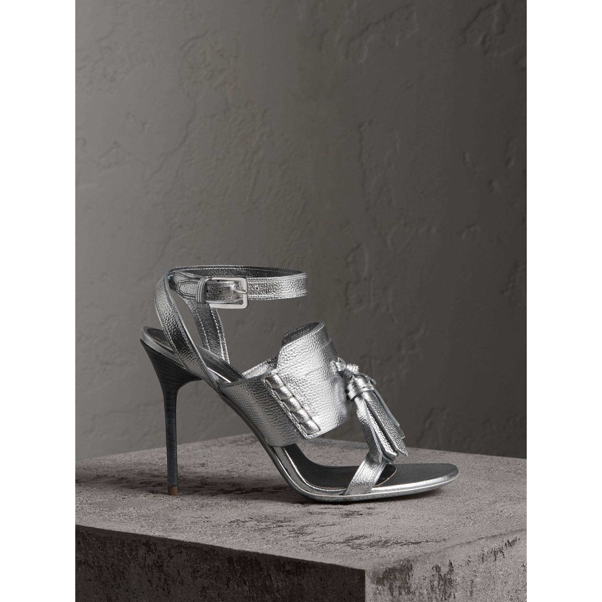 Tasselled Metallic Leather Sandals in Silver - Women | Burberry - gallery image 0
