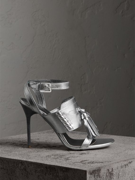Tasselled Metallic Leather Sandals in Silver