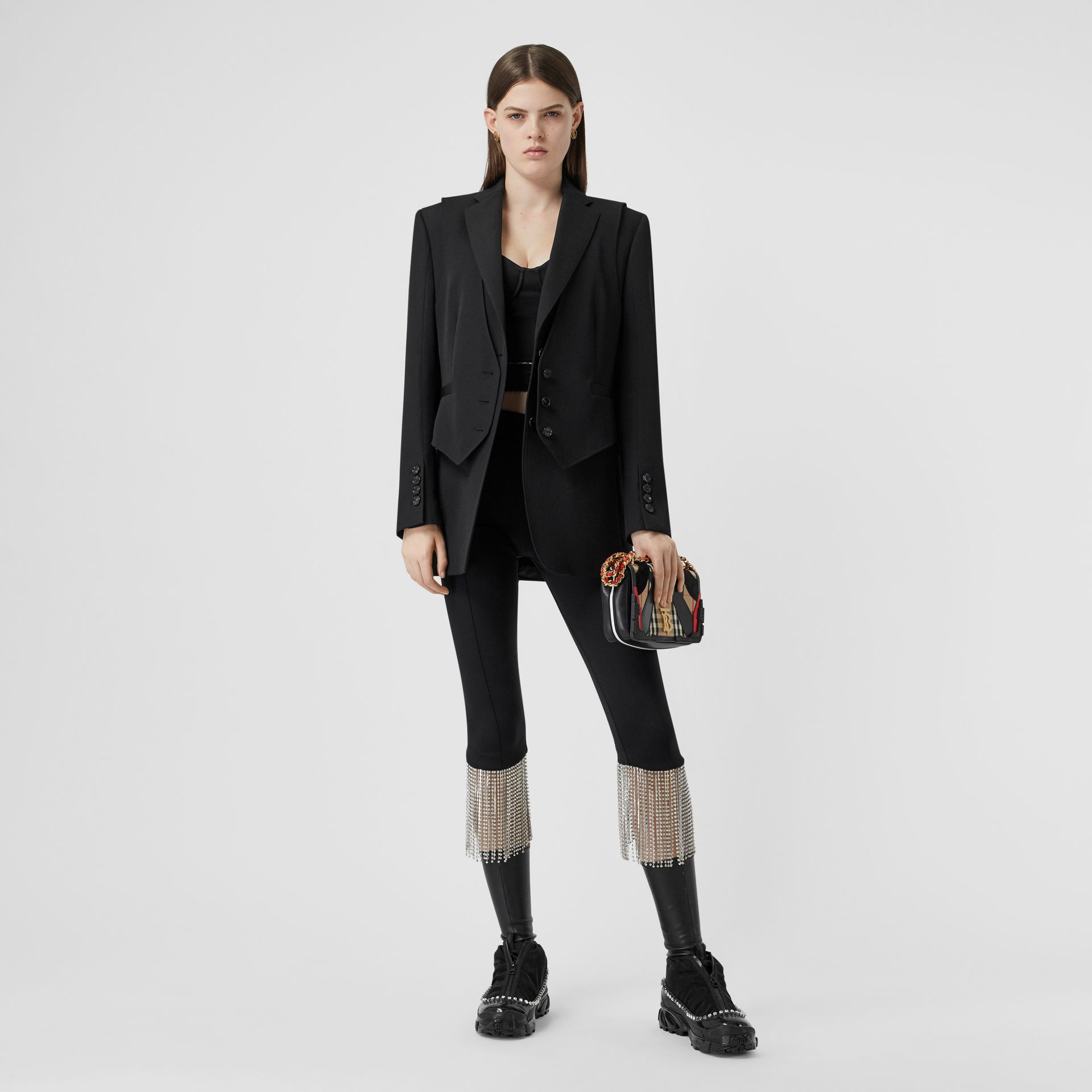 Waistcoat Detail Wool Tailored Jacket in Black - Women | Burberry - gallery image 0