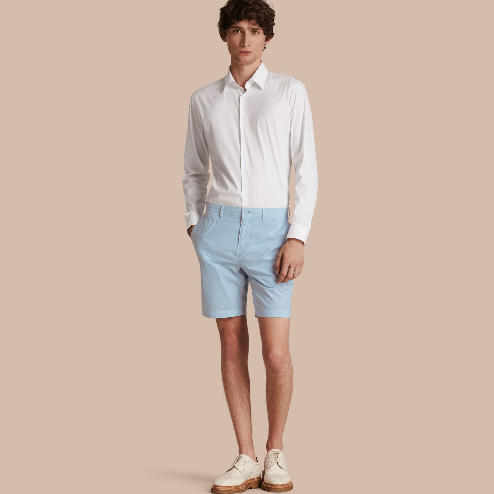 Cotton Poplin Chino Shorts Pale Opal Blue - gallery image 1