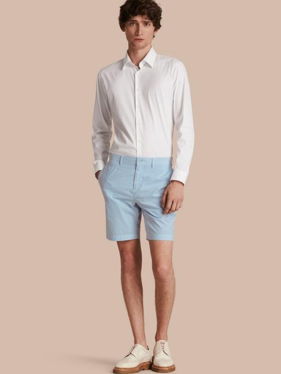 Pantaloncini chino in popeline di cotone (Blu Opale Pallido)