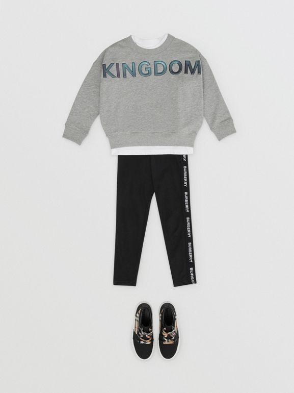 Kingdom Motif Cotton Sweatshirt in Grey Melange | Burberry Hong Kong S.A.R - cell image 1