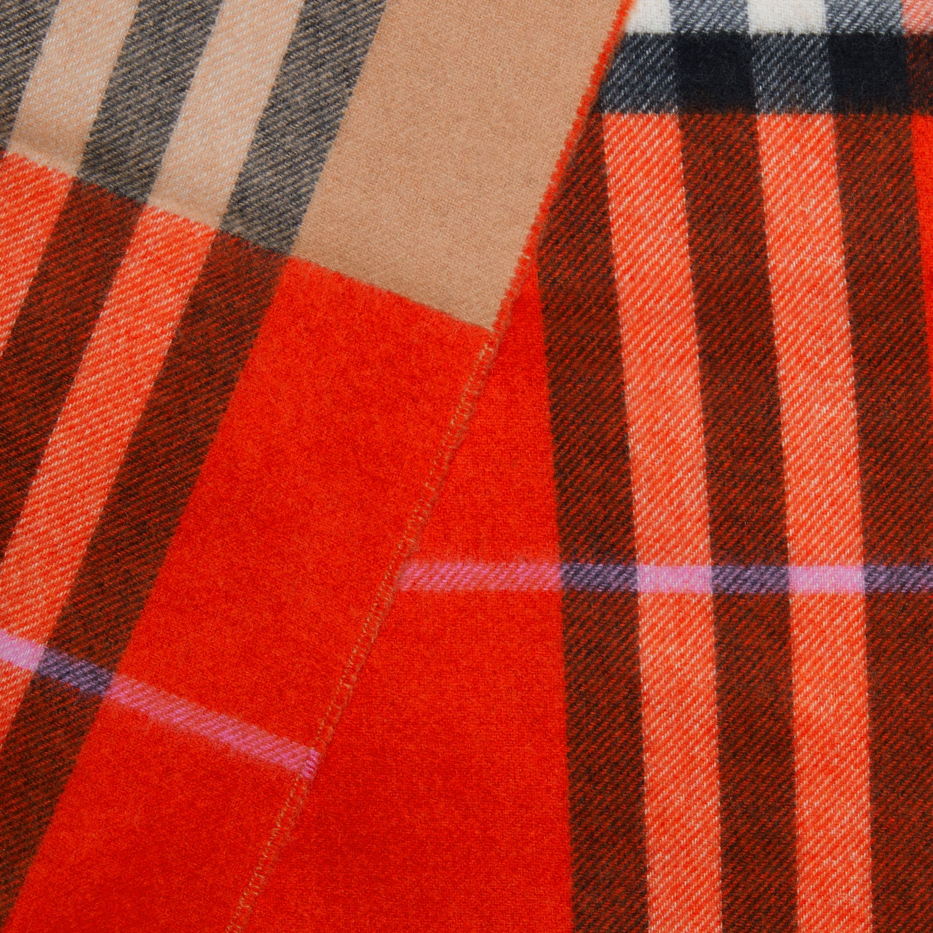 Long Reversible Colour Block Double-faced Cashmere Scarf in Bright Orange Red | Burberry - gallery image 7