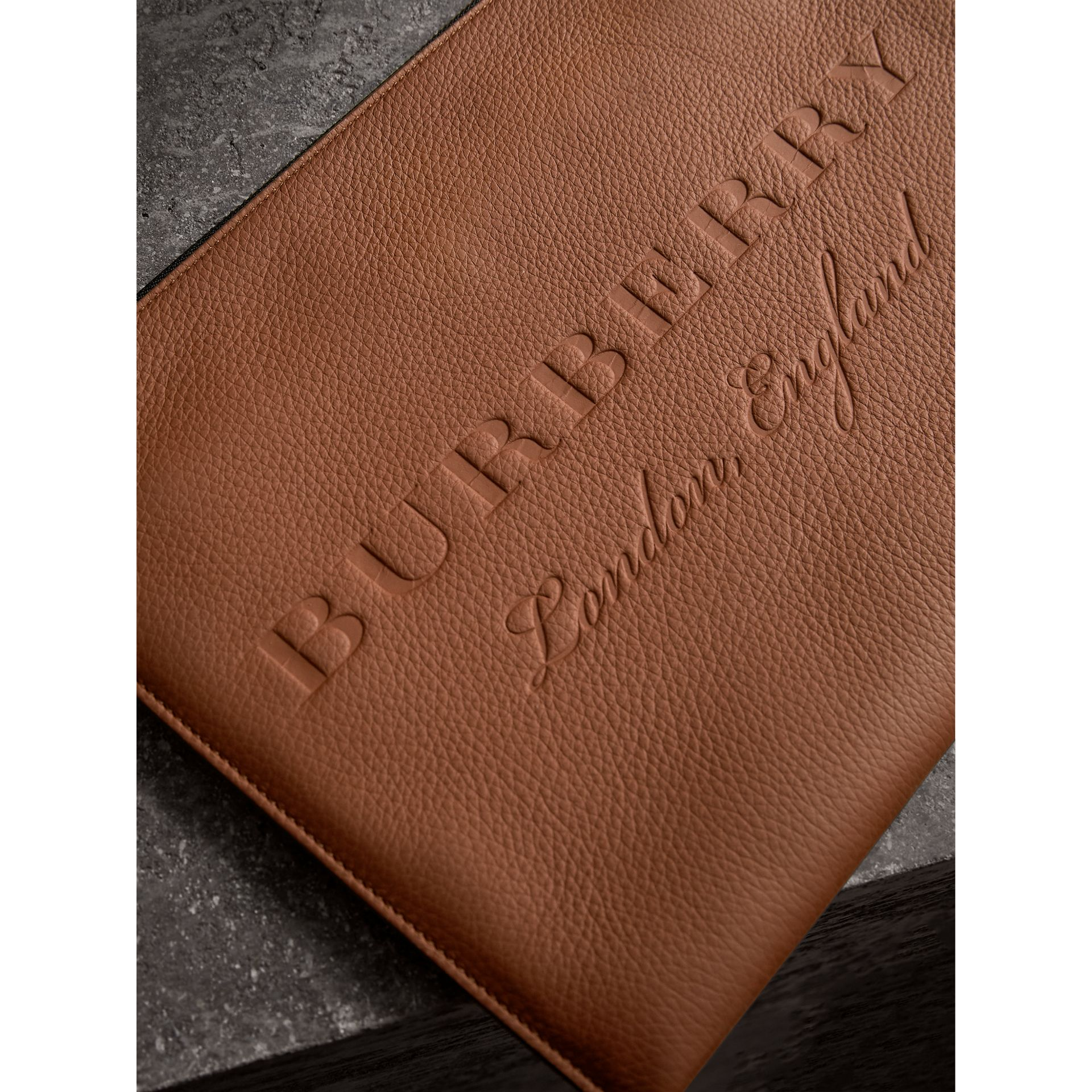 Embossed Leather Document Case in Chestnut Brown - Men | Burberry - gallery image 2