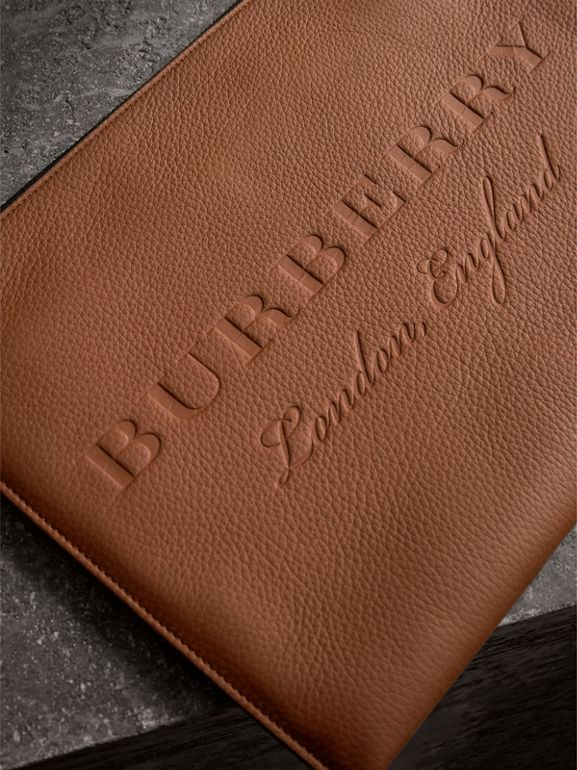 Embossed Leather Document Case in Chestnut Brown - Men | Burberry - cell image 1