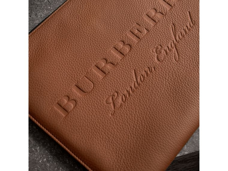 Embossed Leather Document Case in Chestnut Brown - Men | Burberry Singapore - cell image 1
