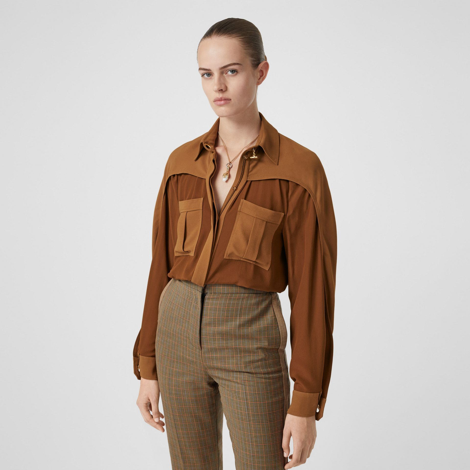 Cape Sleeve Two-tone Silk Shirt in Mahogany - Women | Burberry Canada - gallery image 0