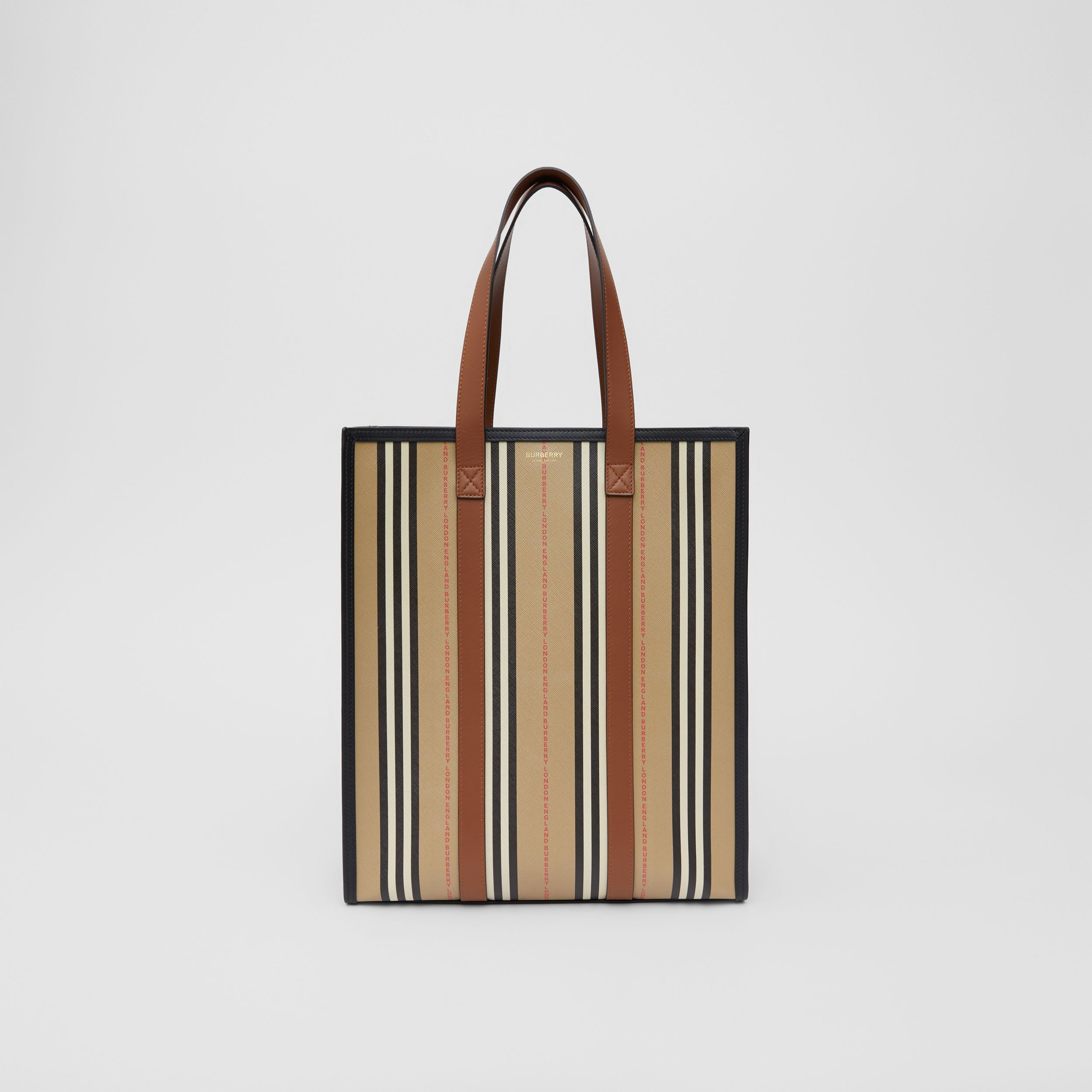 Logo and Stripe E-canvas Portrait Tote Bag in Tan/archive Beige - Women | Burberry - 1