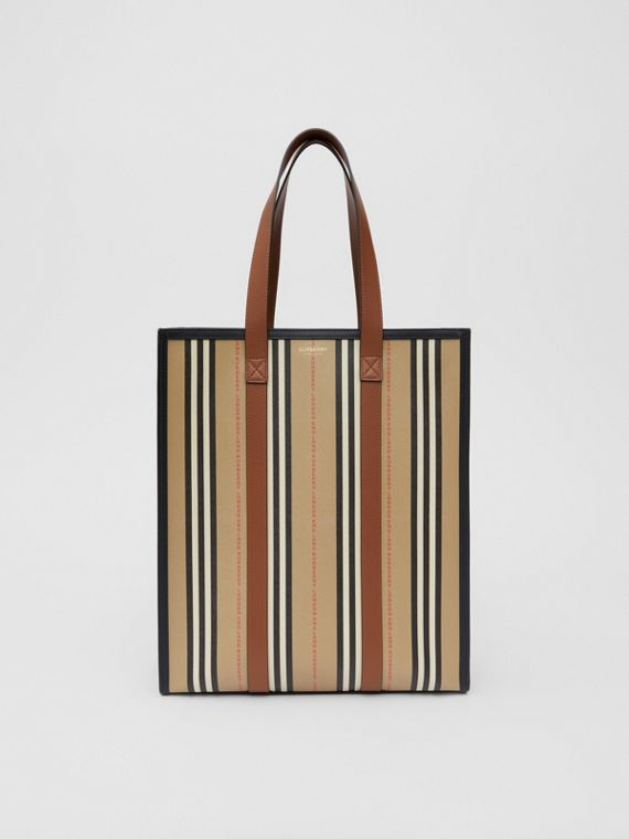 Logo and Stripe E-canvas Portrait Tote Bag in Tan/archive Beige