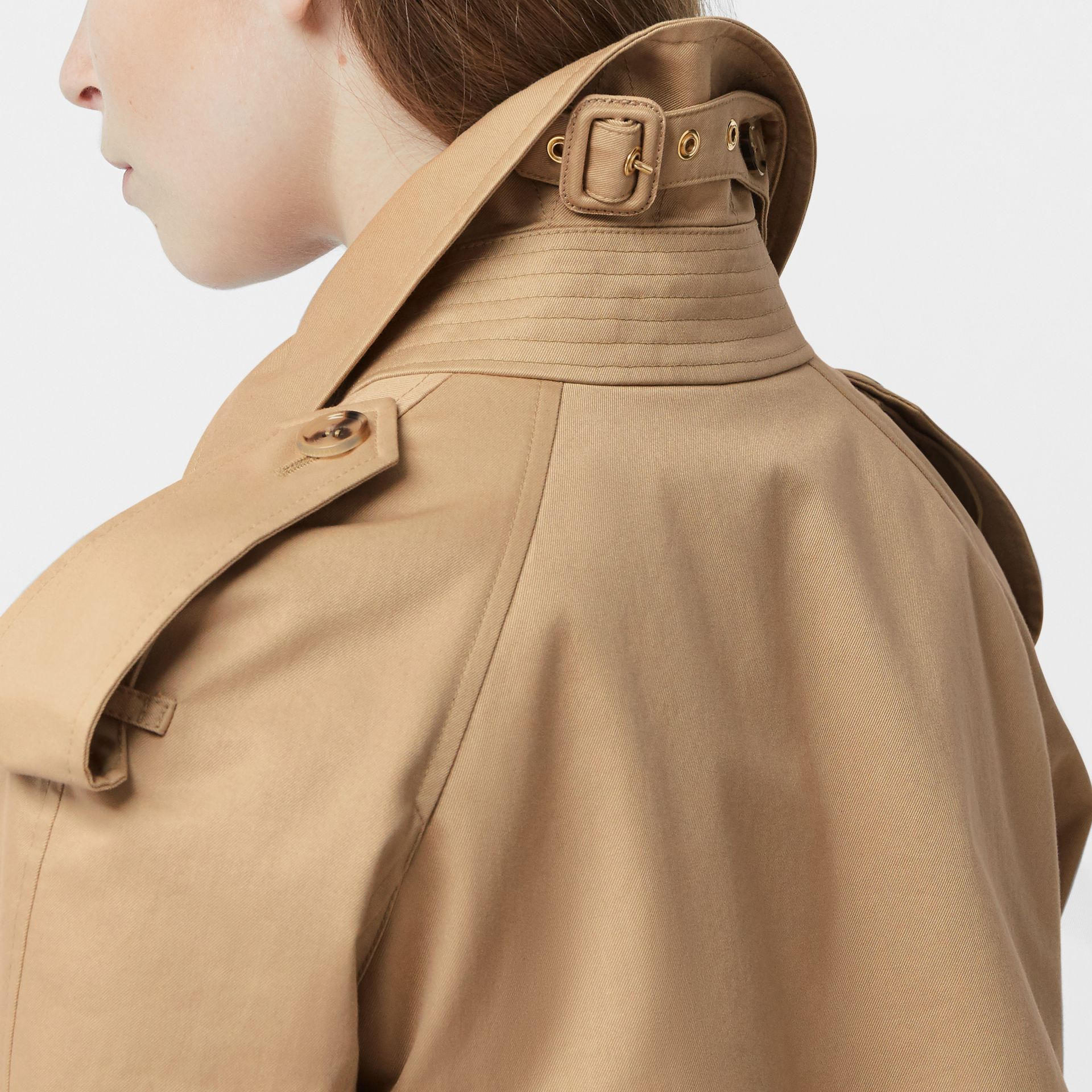 Extra Long Cotton Gabardine Trench Coat in Soft Fawn - Women | Burberry United Kingdom - gallery image 3