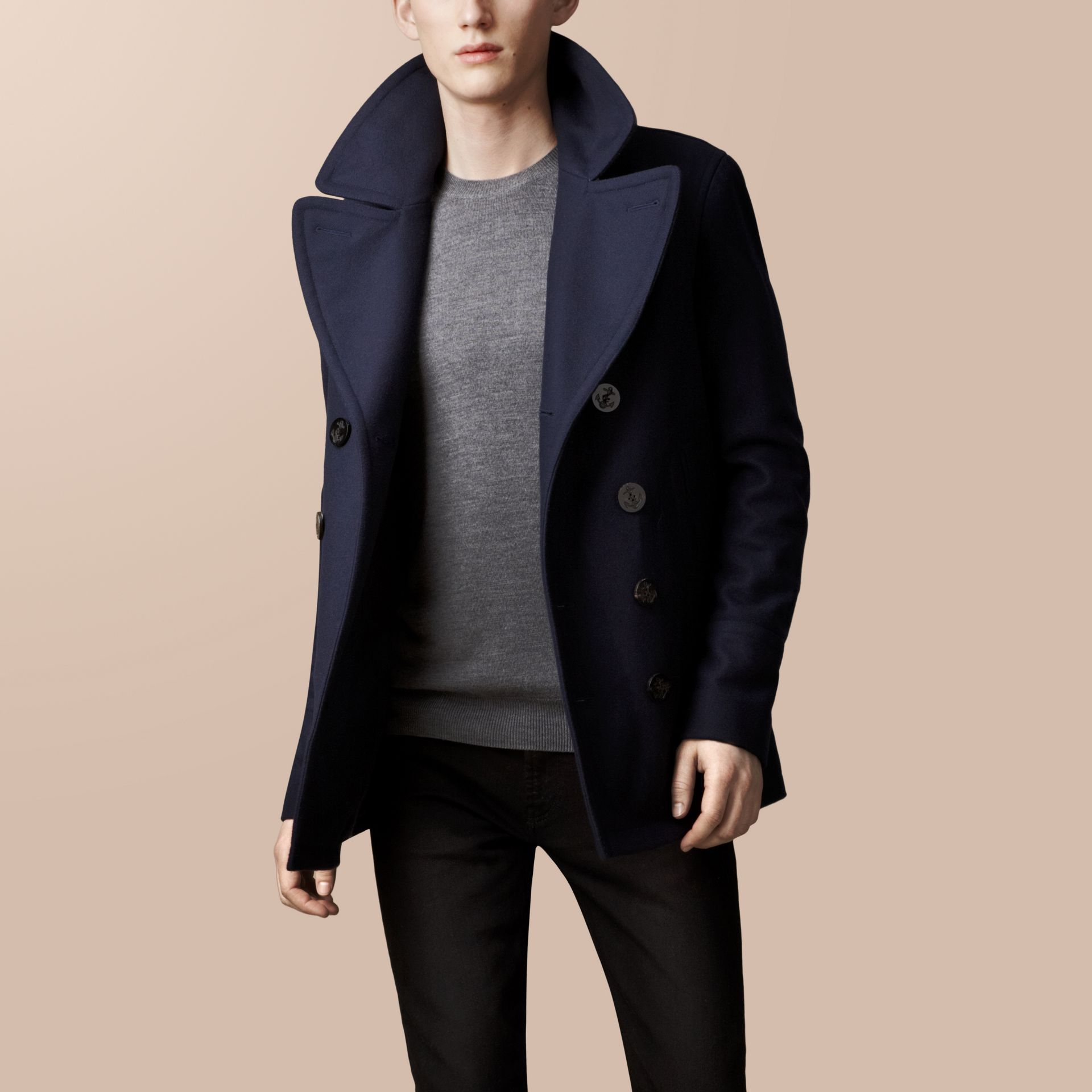Navy Wool Cashmere Pea Coat - gallery image 2