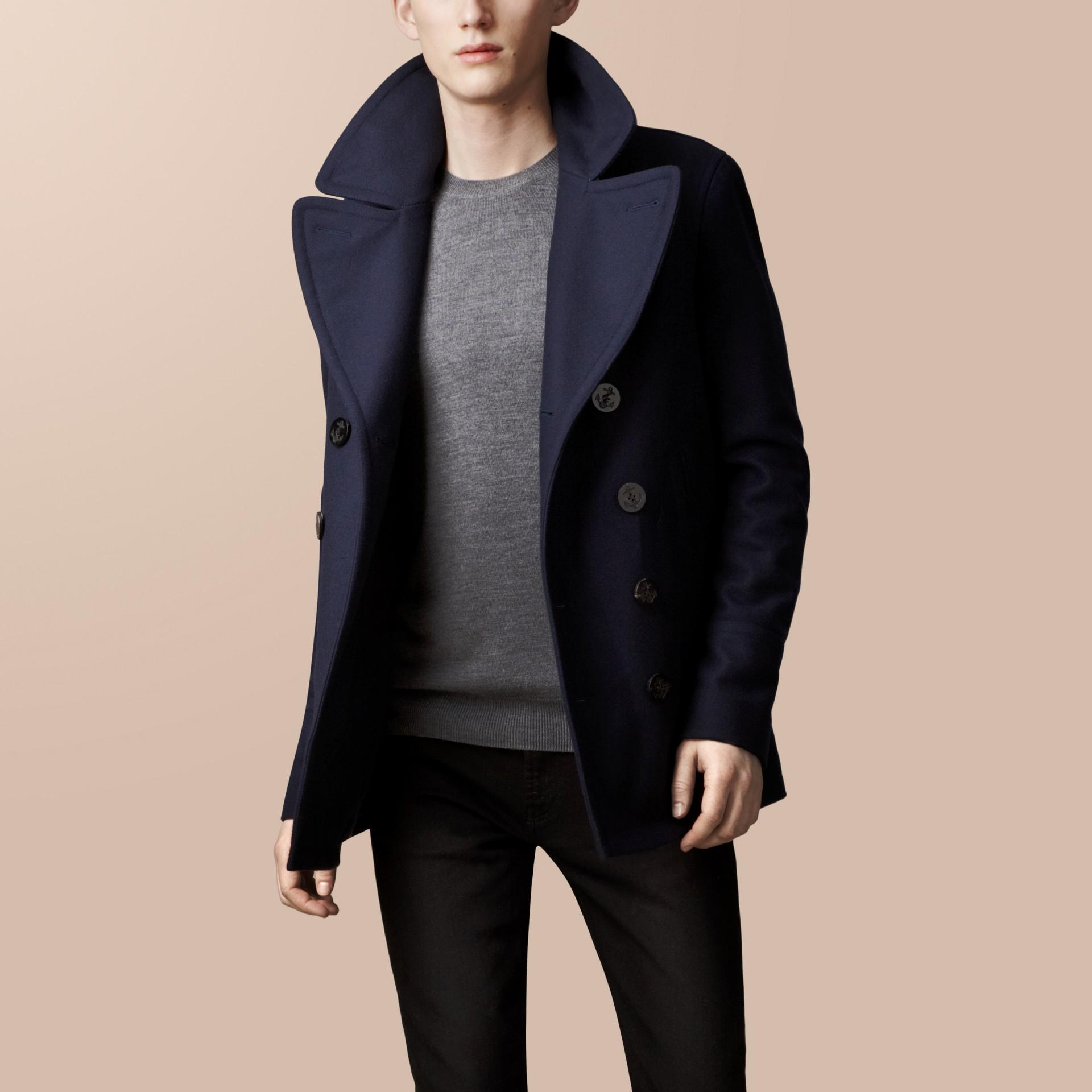 Azul marinho Pea Coat de lã e cashmere - galeria de imagens 2